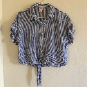 Striped Tie-Front Cropped Shirt